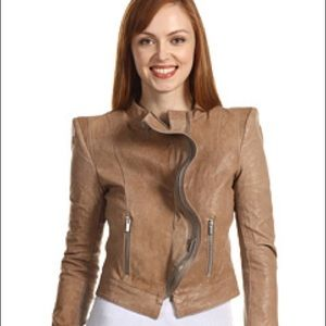 Fitted Authentic BCBG MAXAZRIA Beige Leather XS